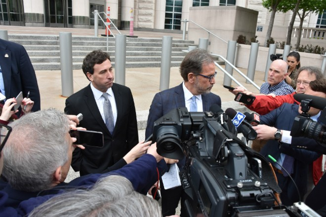 Steve Stenger (left) and attorney Scott Rosenblum face the press after the ex-St. Louis County executive's guilty plea. - DOYLE MURPHY