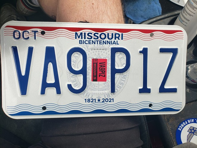 Yes, this is an actual Missouri license plate. - COURTESY OF A ST. LOUIS MOTORIST