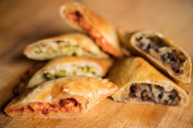 Hand pies come in a few different options: broccoli cheddar, pizza and steak 'n' tater. - MABEL SUEN