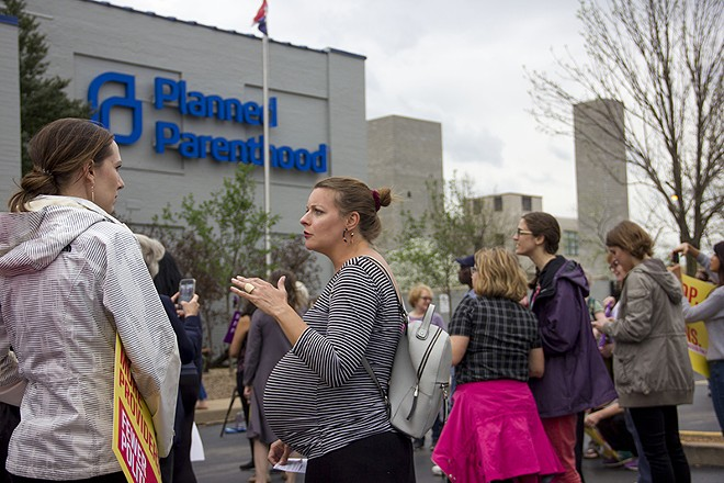Demonstrators in favor of abortion access rallied at Planned Parenthood last month. - DANNY WICENTOWSKI