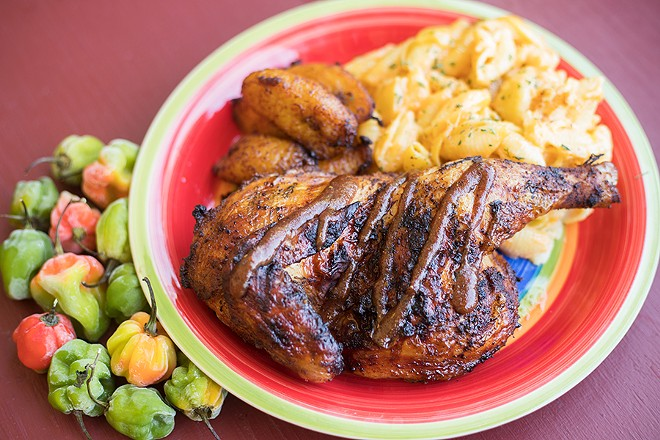 """Judah's Jerk Entree"" is served with plantains and mac and cheese. - MABEL SUEN"
