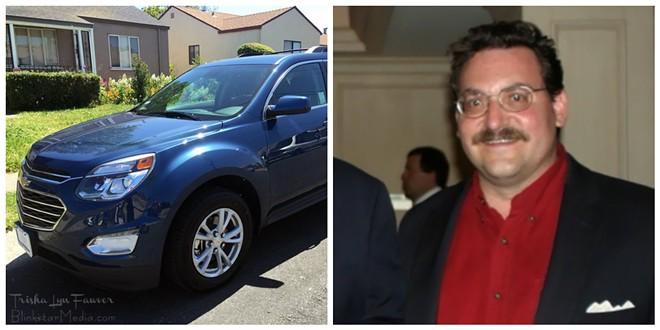 Robert Schott's black Chevy Equinox, like the SUV at left, was shot up near Peveley. - CAR PHOTO VIA FLICKR/TRISHA FAWLER. ROBERT SCHOTT COURTESY OF AL WATKINS