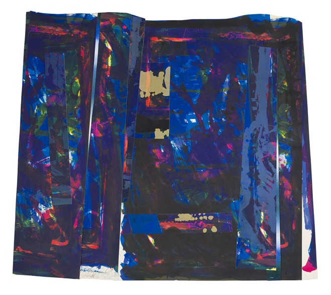 Mary Lovelace O'Neal, American, born 1942; City Lights, 1988; offset lithograph and screenprint; sheet (irregular): 28 1/8 × 32 1/8 inches; Saint Louis Art Museum, The Thelma and Bert Ollie Memorial Collection, Gift of Ronald and Monique Ollie 177:2017; © Mary Lovelace O'Neal