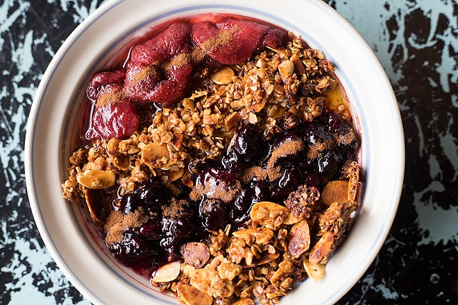 Morning Glory's parfait features layers of yogurt, fruit and granola, topped with cinnamon and honey. - MABEL SUEN