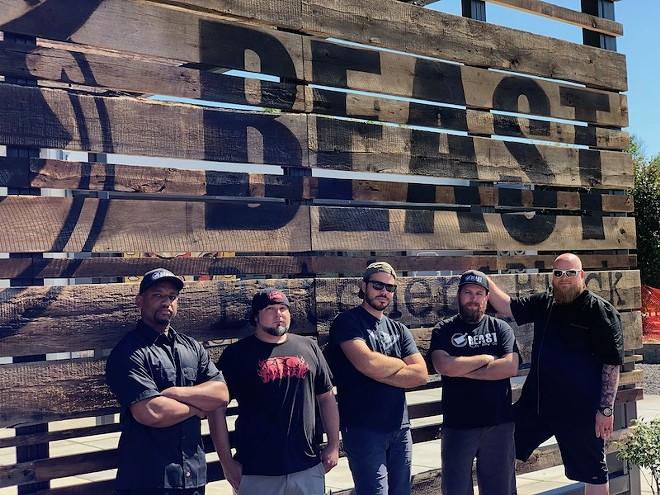 The Beast Butcher & Block team: Sous Chef Kelvin Johnson, butcher CJ Baerman, executive chef Ryan McDonald, pit boss Jim Thomas and pitmaster/owner David Sandusky. - COURTESY OF BEAST BUTCHER & BLOCK
