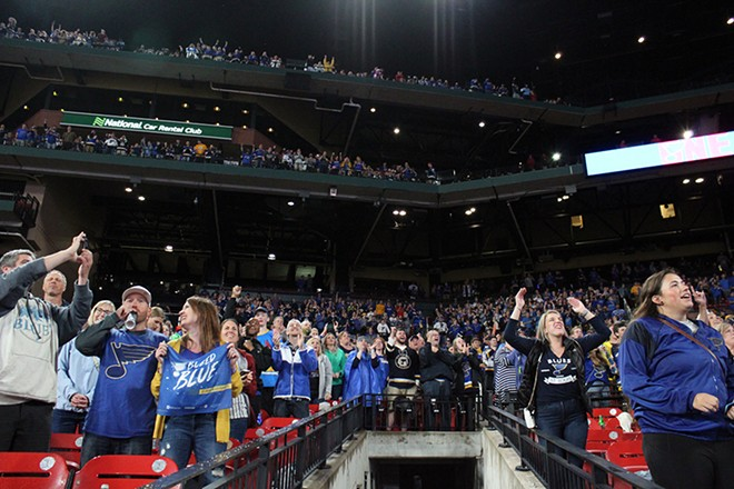 Blues fans filled Busch Stadium to watch the Stanley Cup last week. - KATIE COUNTS