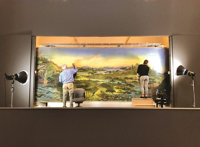 Conservators restore the Saint Louis Art Museum's Panorama of the Monumental Grandeur of the Mississippi Valley. - COURTESY OF THE SAINT LOUIS ART MUSEUM