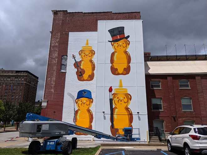 fnnch's included a nod to the St. Louis Blues in his honey bears mural on the Centene Center for the Arts in Grand Center. - JOSHUA PHELPS