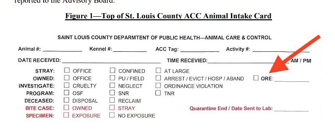 """People bringing animals to the shelter were told to check the box for """"ORE,"""" but not told what it meant. - SCREENSHOT VIA AUDIT"""