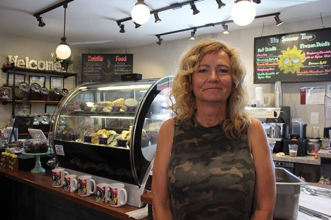Marcia Johns-Brooks says her favorite part of owning Cafe on the Abbey is being able to drink coffee anytime she wants. - KATIE COUNTS