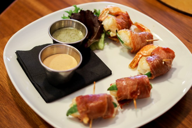 """Italian Mermaids,"" feature shrimp, wrapped in prosciutto. - CHELSEA NEULING"