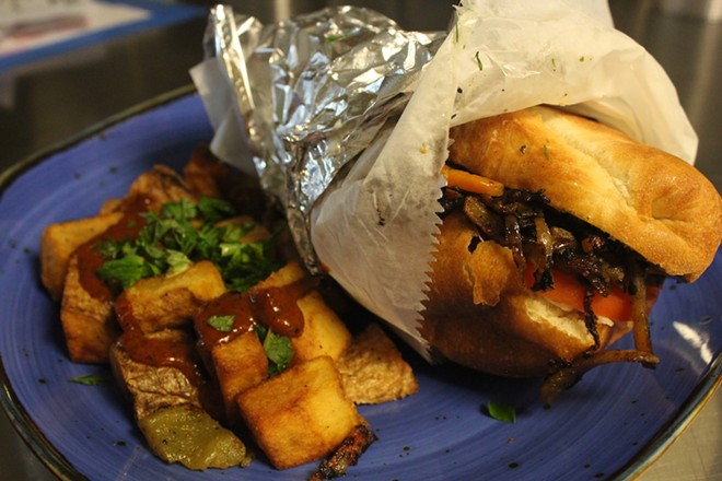 Tortas are served with either tofu or marinated pork. - KATIE COUNTS