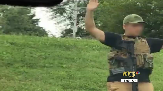 A still photo from the scene where the suspect was detained by police. - SCREENSHOT FROM KY3'S REPORT