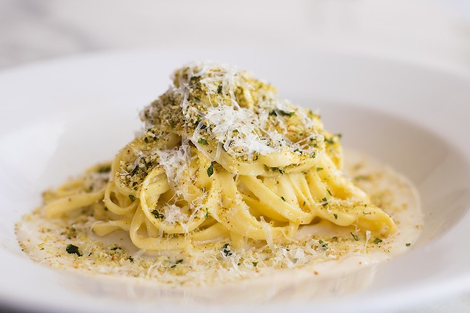 Tagliolini with cauliflower puree, tagliolini noodles, anchovy gremolata and parmesan. - MABEL SUEN