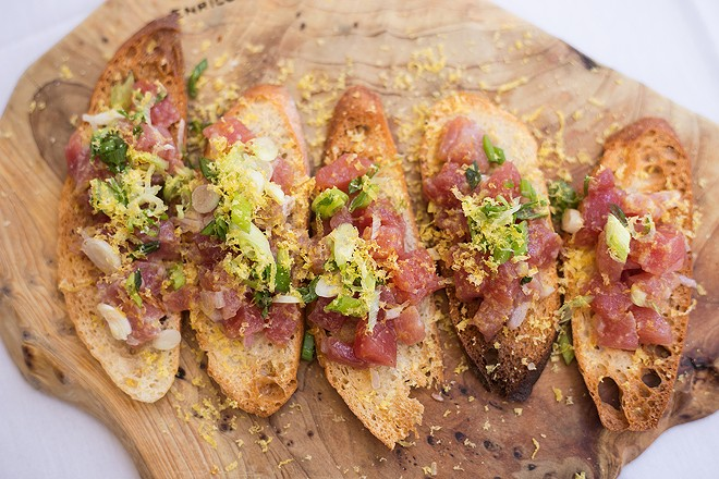 The tonno crudo bruschetta, topped with cubes of tuna is like a southern Italian riff on poke. - MABEL SUEN