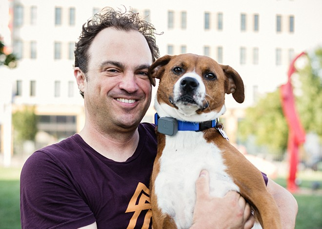 Jon Porter and his pal Rusty have both made friends at a Saint Louis University dog park. - STEPHEN KENNEDY
