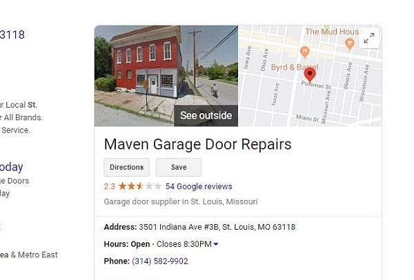A now-deleted listing showed a fake address for Maven Garage Door Repairs. - SCREENSHOT VIA GOOGLE