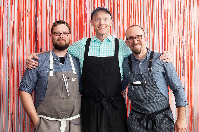 From left: sous chef Justin Bell, chef-owner Rob Connoley and beverage director Chris Voll avoid kitsch and stereotype in the new restaurant. - MABEL SUEN