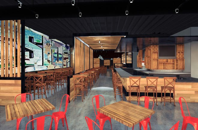 A rendering of the main dining room and bar area. - COURTESY MISSION TACO JOINT