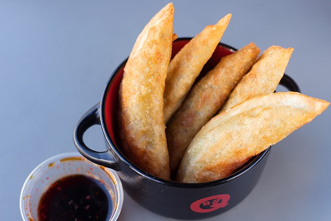 Rich and slightly spicy, BoBQ's vegetarian-friendly dumplings are filled with cabbage, tofu and jalapeños. - MABEL SUEN