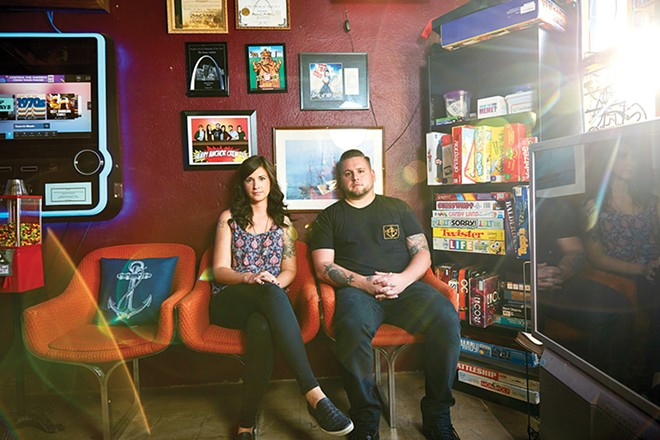 Jodie and Joshua Timbrook have created a home for comedy and live music in their bar, the Heavy Anchor. - THEO WELLING