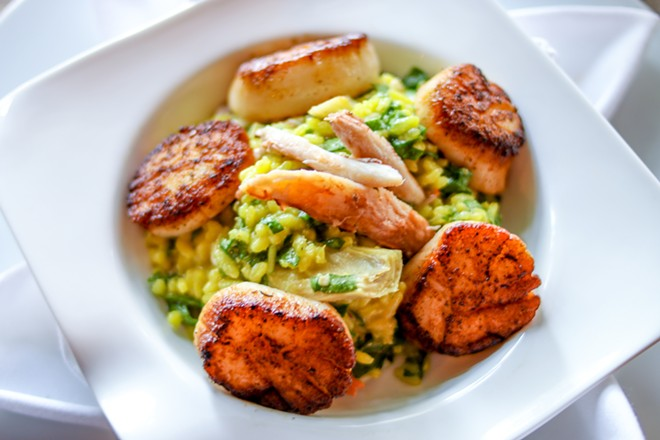 Sea scallops with risotto, crab meat, spinach, artichokes and brown butter sauce - CHELSEA NEULING