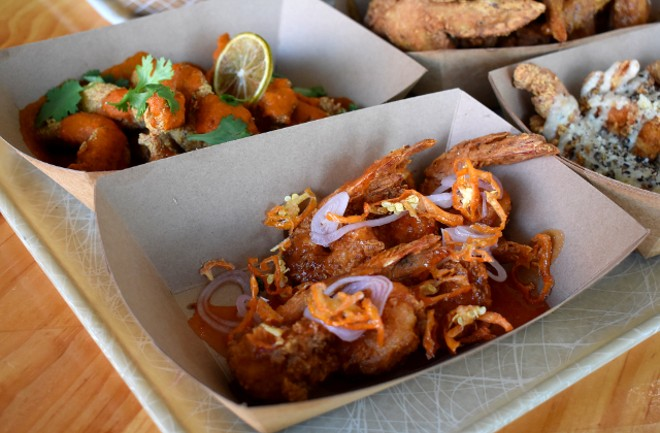 Buttermilk fried shrimp coated in a sweet and spicy Southern Jezebel sauce. - LIZ MILLER