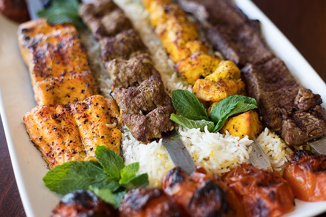 The kabob platter includes salmon, beef koobideh (ground beef), chicken and filet. - MABEL SUEN