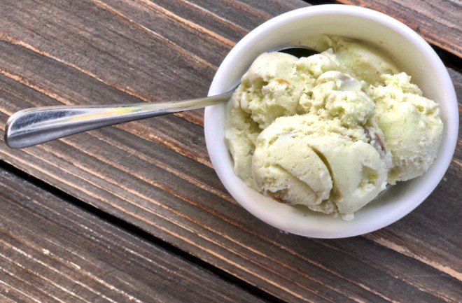 Pistachio ice cream made with pure cricket powder at Rooster South Grand. - COURTESY BAILEYS' RESTAURANTS