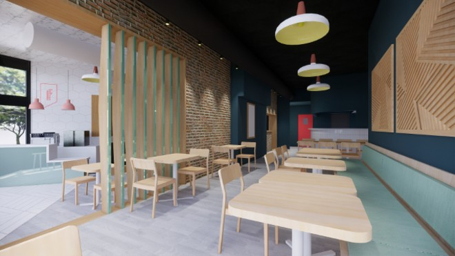 A rendering of Little Fox's dining room as designed by SPACE Architecture + Design. - COURTESY LITTLE FOX