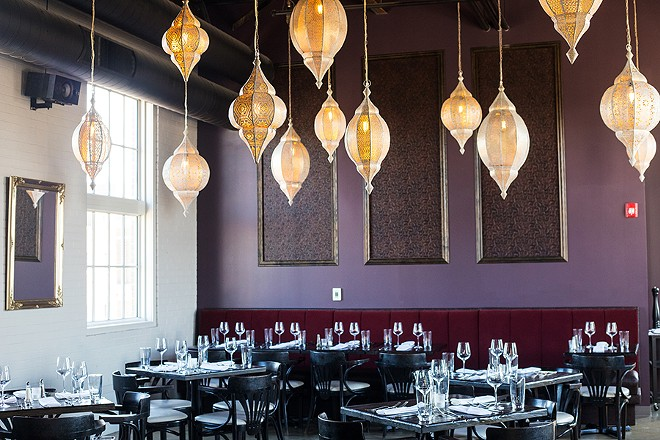 The Bellwether's dining room is warm and downright sexy, outfitted in luxe velvet, the tapestry-appointed room feels like a Venetian café. - MABEL SUEN