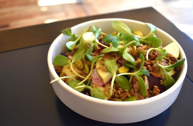 Beet salad with Fuji apple, yogurt vinaigrette, pistachios, toasted seeds and sunflower shoots. - LIZ MILLER