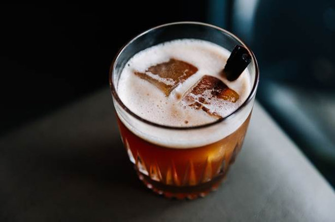 The Dr. Seuss-inspired Duck Feet Wishes is made with Buffalo Trace bourbon, cherry, falernum, allspice, curaçao and lemon. - COURTESY OF RETREAT GASTROPUB