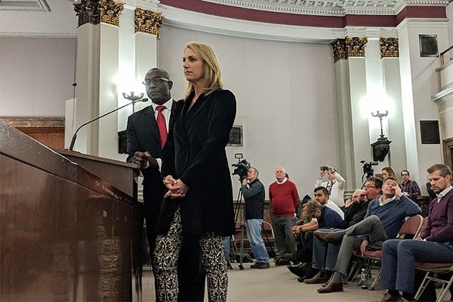 Aldermanic President Lewis Reed and Carolyn Kindle Betz, a member of the ownership group in 2018.