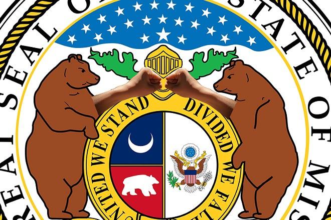 Missouri's great seal, updated per Pornhub data. - IMAGES VIA WIKIMEDIA/WALT STONEBURNER