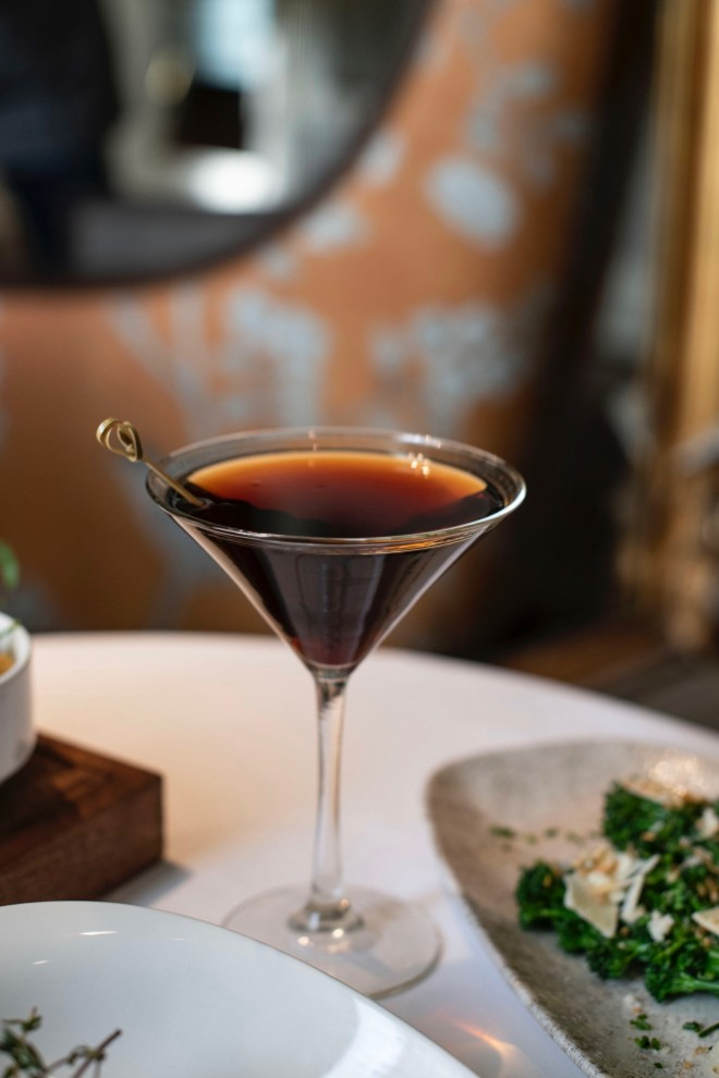 The Rat Pack cocktail with Old Overholt rye, Luxardo amaro, Angostura Bitters and a splash of Laphroaig. - ED ALLER