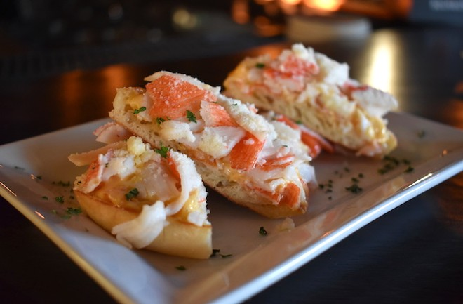 Krabby Crab Puffs with cheese spread, fresh crab and a horseradish cheese on an English muffin. - LIZ MILLER