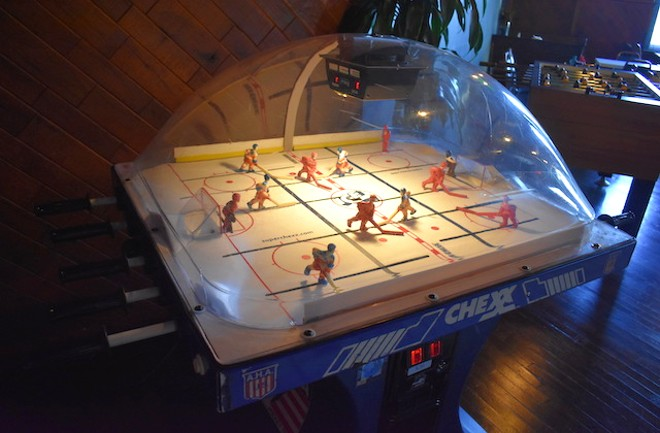 Bubble hockey is just one of the games at the Get Down. - LIZ MILLER