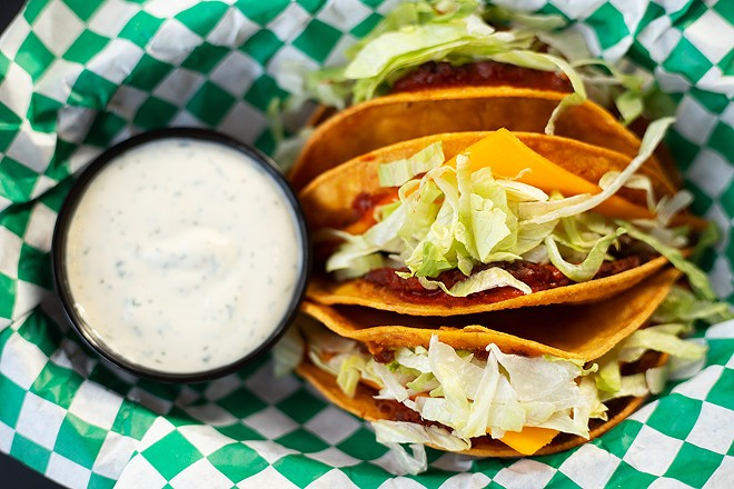 Utah Station positively nails its Crack Tacos, a take on Jack in the Box tacos, all the way down to the sliced vegan American cheese and fried lettuce. - MABEL SUEN