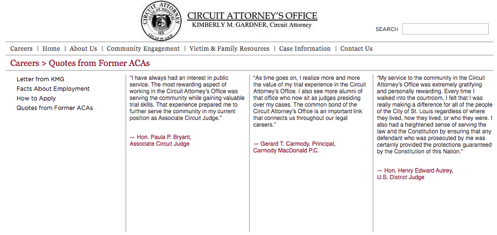 Gerald Carmody's quote on the Circuit Attorney's Office site. - SCREEN SHOT