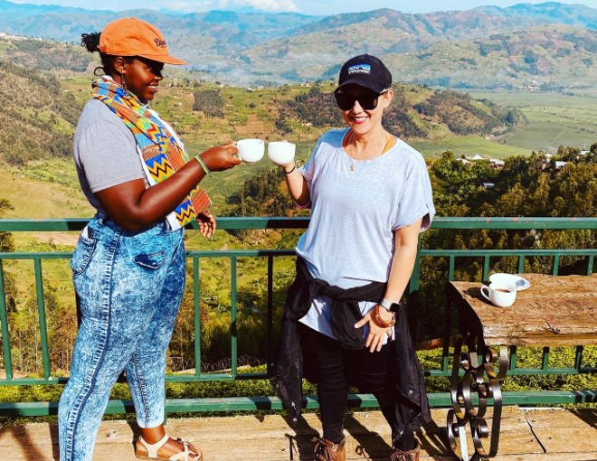 Tricia Zimmer Ferguson shares a cup of java on a recent visit to a coffee farm in Africa. - COURTESY KALDI'S COFFEE