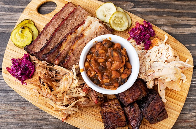 One of Knockout's combo meat platters with pit beans. - MABEL SUEN