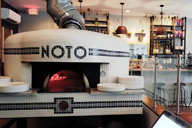 Noto's wood-fired oven burns at temperatures up to one-thousand degrees. - KRISTEN FARRAH