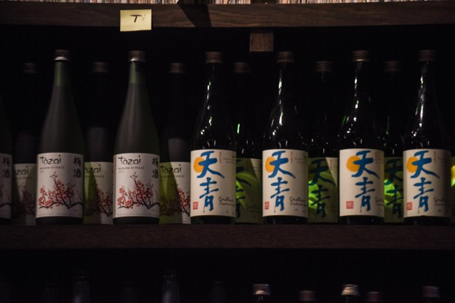 A peek at the sake selection. - TRENTON ALMGREN-DAVIS