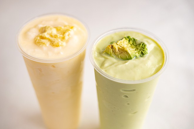 Durian (pictured left) and avocado smoothies. - MABEL SUEN