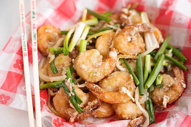 Shrimp stir fried in ginger and scallion sauce. - MABEL SUEN
