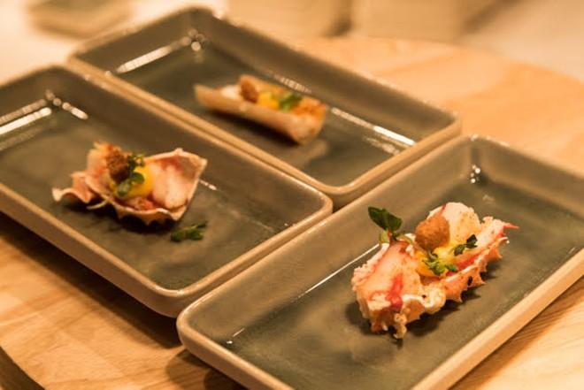 Seafood small bites served at the grand opening. - TRENTON ALMGREN-DAVIS