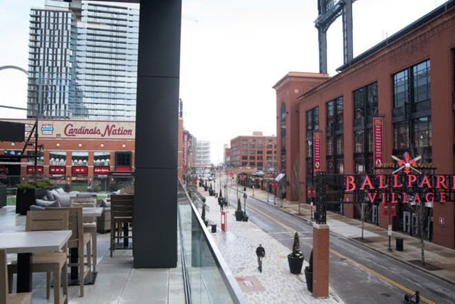 The view of Ballpark Village and Busch Stadium from the second-floor the Bullock, set to open soon. - TRENTON ALMGREN-DAVIS