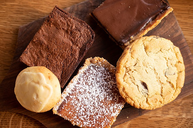 Baked goods include a brownie, Winslow's bar, goat cheese cookie, lemon bar and chocolate-chip cookie. - MABEL SUEN