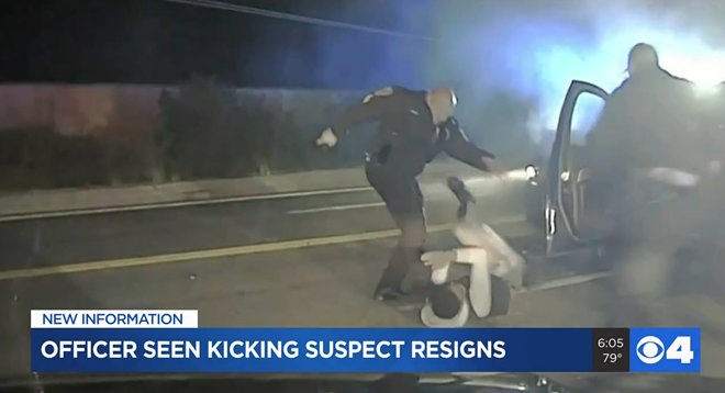 Ex-Woodson Terrace cop David Maas was recorded kicking a suspect in a video first aired by KMOV. - SCREENGRAB VIA KMOV